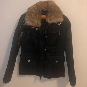 KORS Michael Kors Aviator Coat in Black Fur Collar